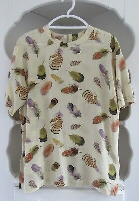 49660152ac9540 Elegance Best Silk Ivory Blouse Womens Size XL 100% Washable Silk Feathers  Italy