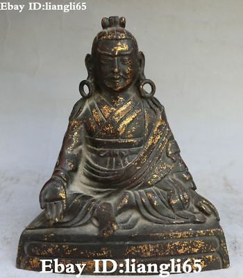 Old China Bronze Gilt Taoism Zhang Heavenly teacher Myth God Immortal Statue