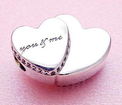 Authentic Pandora Silver Charm Bead 💋796560Cz Two Hearts You & Me Love