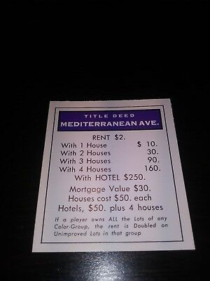 Monopoly Mediterranean Avenue Property Title Deed Replacement Card