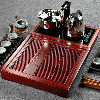 rosewood tea tray with induction cooker solid wood table electrical kettle pan