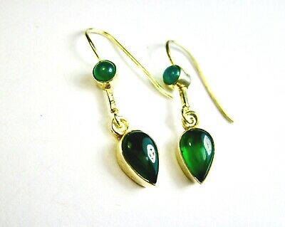 Beautiful Vintage 925 St. Silver Earrings With Green Onyx
