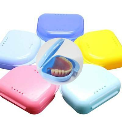 Retainer Case With Vent Holes & Hinged Lid Snaps Mouth Guard Case Dental Box