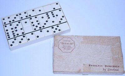 Vintage EVERLAST Dominoes/Domino SET WHITE #5555 CARDINAL Texas 42