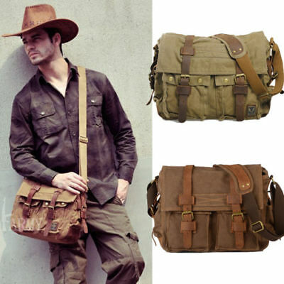 Mens Vintage Canvas Leather Satchel School Military Shoulder Army Messenger Bag