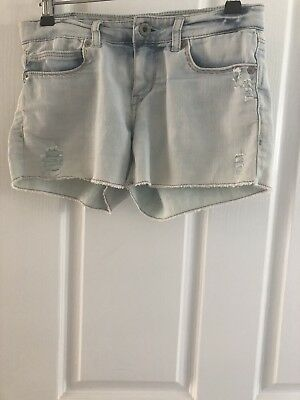 Levi's Girls Shorty Shorts Faded Blue Distressed Denim Shorts size 10 Reg.