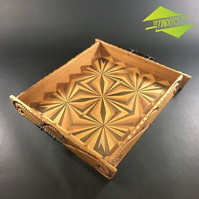 Incredible Hand-Made Australian Timbers Inlaid Geometric Serving Tray Vintage