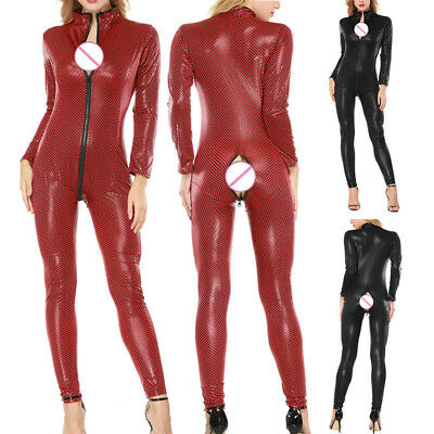Ladies Sexy Patent Leather Bodysuit Open Crotch Zipper Clubwear Fitness Elegant