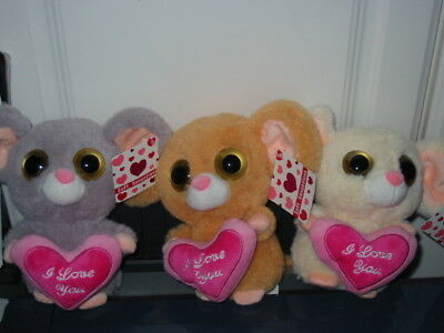 "6 X Big-Eyed Mice With ""i Love You"" Heart In Display Box - Bnwt Ideal Valentines"