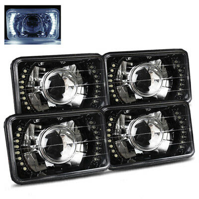 (4 Lamps System) 4x6 Semi-Sealed White LED Black Crystal Projector Headlights