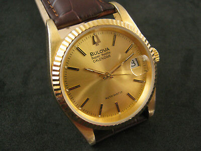 Classic Bulova Super Seville Calendar Automatic Gold Plated Date Men's Watch