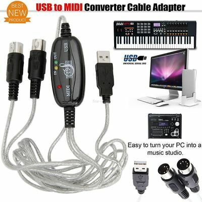 Editor Cord MIDI To USB Cable IN-OUT Interface PC To Music Keyboard Converter