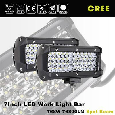 "2Pcs 7"" inch 768W Quad-Row LED Pods Work Light Bar Spot Beam Driving Offroad 4"
