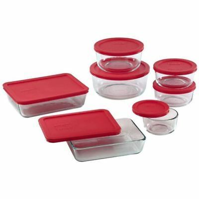 Pyrex - Simply Store 14pc Storage Set Red Lids (Made in the U.S.A)