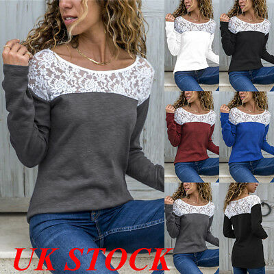 UK Women Lace Floral Patchwork Shirt Top Ladies Long Sleeve Loose Blouse Tops