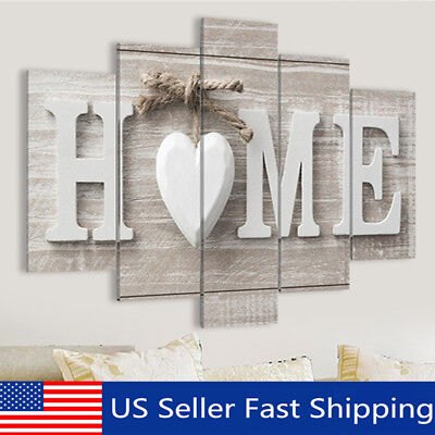 5 Panels Love HOME Wall Art Print Pictures Canvas Painting Unframed Decoration