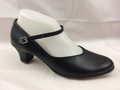Capezio Character Shoes Womens 8 M Tap Dance Shoe Black Leather Mary Jane Buckle