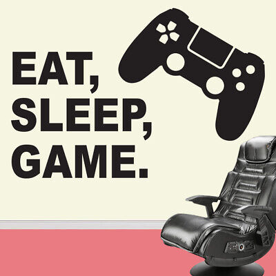 Eat Sleep Game Vinyl Wall Sticker Decal Childrens Bedroom PS Playstation Gaming