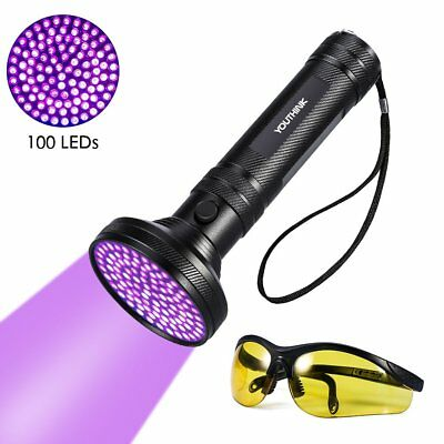 100 LED UV Ultra Violet Blacklight Flashlight Torch Inspection Light Outdoor