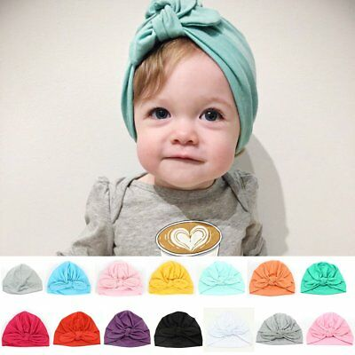 Newborn Baby Infant Girl Boy Toddler Bowknot Hospital Cap Beanie Hat Turban