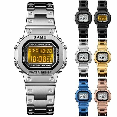 Men Women Stainless Steel LED Digital Square Dial Alarm Stopwatch Wrist Watch