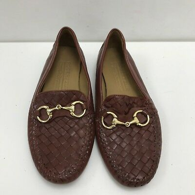 RUSSELL & BROMLEY Brown Woven Perlata Moccasin Shoes Size UK 6 EU 39 42169