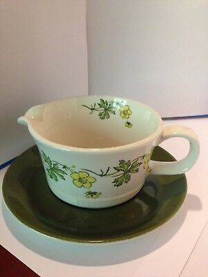 Vintage Figgjo Flint Buttercup Norway Gravy  Dish with Under Plate 1960's