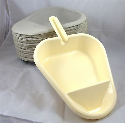 Slipper Pan Support Holder and 25 Disposable Cardboard Pulp Slipper Pan Liners