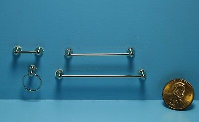 Dollhouse Miniature Silver Towel Bars with Toilet Paper Holder & Ring ~ T8463