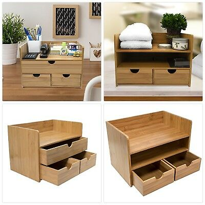 Sorbus 3 Tier Bamboo Shelf Organizer For Desk With Drawers Mini Storage