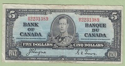 1937 Bank of Canada Five Dollar Note - Coyne/Towers - H/S2231389 - Fine