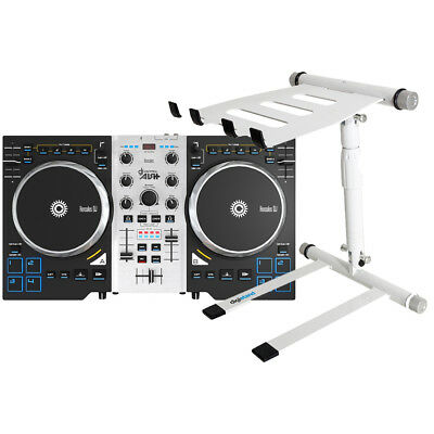 Hercules DJ Control Air S DJ Controller w/ Digistand LPT02 White Laptop Stand
