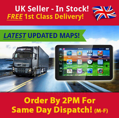 "2019 7"" Truck Sat Nav UPDATED UK & Europe Maps POIs Laybys, Keyfuels, HGV, Lorry"