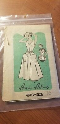 1957 Vintage Sewing Pattern APRON COVERALL Size 16  By 'Anne Adams'
