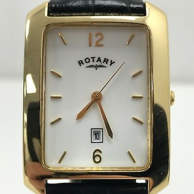 ROTARY Gold Tone Stainless Steel Rectangular Dress Watch Mens Boxed 42837