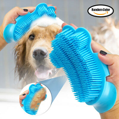 Pet Cat Dog Cleaning Massage Bath Brush Soft Rubber Comb Glove Dog Grooming Blue