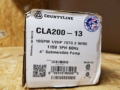 "CountyLine CLA200-13 ~ 2-Wire 1/2 HP 10 GPM 4"" Submersible Well Pump 115V New"