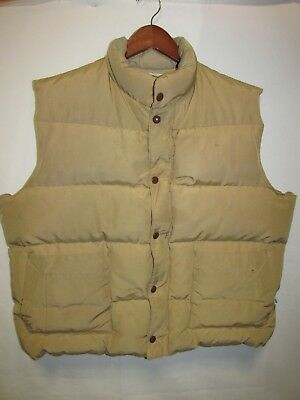Orvis Vintage Tan Goose Down Puffy Vest Zip Front Snaps Men's  T2
