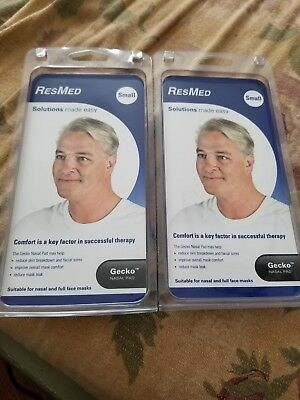 (2) NEW ResMed Gecko Small Nasal Pads Soft Face Gel Cushion Nose Therapy