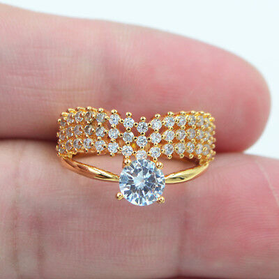 18K Yellow Gold Filled Clear Crystal Zircon Topaz Gems Love Promise Ring