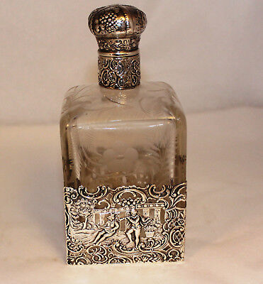 Antique Continental Silver And Etched Glass Port Wine Bottle Neresheimer & Co.