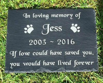 """Pet Memorial Personalised Engraved Slate Headstone Grave Marker Plaque 12 x 8"""""""