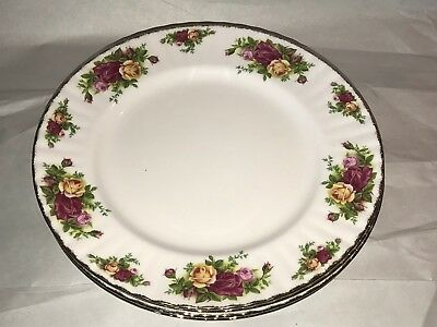 "Royal Albert Old Country Roses 10.5"" Dinner Plates Set / Lot of 4 - 1962 England"