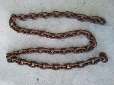 "Vintage Rusty heavy Chain Metal Garden Steampunk Industrial Art Barn 105"" large"
