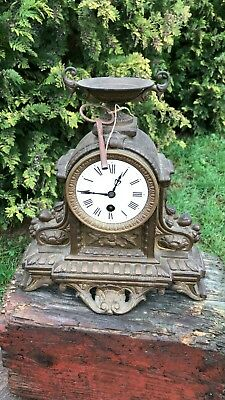 Beautiful Antique Vintage Bronze French Mantle Clock With Key *