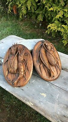 A Pair of Beautiful Antique Vintage Wooden Fish Shrimp Wall Hanging Plaque *