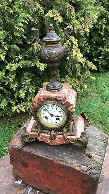 Vintage Art Deco French Philippe Mantle Clock With Spelter Bronze Decoration *