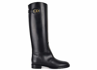 6e635e421 Dior Womens Black Leather Diorable CD Knee High Boots Size IT38 US8~RTL 1720