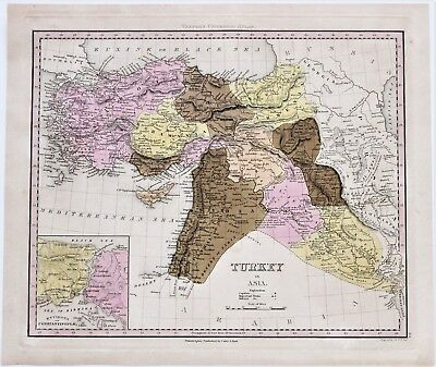 1844 Turkey Syria Map Armenia Georgia Cyprus Damascus TANNER ORIGINAL RARE