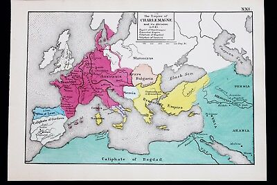 1880 Europe Map Charlemagne Empire 843 Ad Byzantine Empire Caliphate